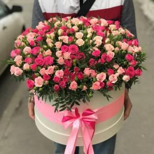 Коробка 101 кустовая роза микс R1949