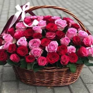 Большой букет 101 пионовидная одноголовая роза R1974