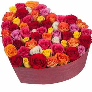 Коробка сердце 51 роза микс R840