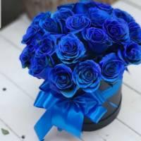 Коробка 15 синих роз с оформлением R187