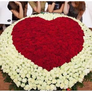1001 роза в корзине, букет-сердце R929