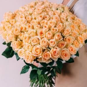 Букет 101 кремовая роза с лентами R481
